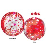 "16"" Orbz Multi-Film Floating Hearts Balloon Packaged"