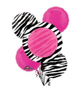 Bouquet Personalized Zebra Party Balloon Packaged