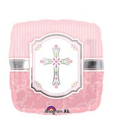 "18"" Communion Blessings Pink Mylar Balloon"