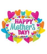 "31"" Jumbo Happy Mother's Day Hearts Marquee Balloon Packaged"