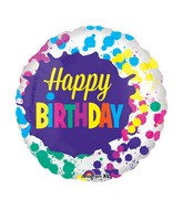 "21"" Junior Shape Happy Birthday Splatters Balloon"