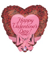 "22"" Two-Sided Balloon w/ attached Bow Roses Valentine"