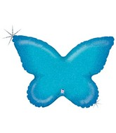 "30"" Holographic Solid Color Butterfly Blue"