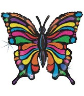"33"" Holographic Multicolour Butterfly Balloon"