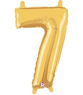 "14"" Valved Air-Filled Shape 7 Gold Balloon"