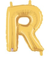 "14"" Valved Air-Filled Shape R Gold Balloon"
