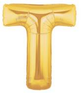 "7"" Airfill (requires heat sealing) Letter Balloons T Gold"