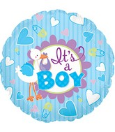 "9"" It's A Boy Stork Self Sealing Valve Foil Balloon"