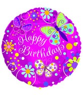 "18"" Butterfly Sparkle Birthday Foil Balloon"