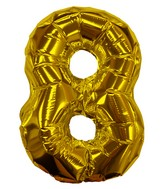 "8"" Gold #8 Shape Self Sealing Valve Foil Balloon"