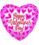 "17"" Happy Valentine's Day Pink/Red Hearts Foil Balloon"