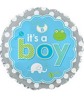"17"" It's A Boy Baby Icons Balloon Packaged"
