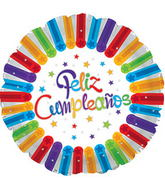 "17"" Feliz Cumpleanos Bright Stars Balloon Packaged"