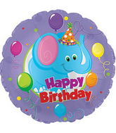 "17"" Happy Birthday Day Party Elephant Packaged"