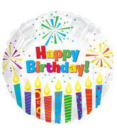 "17"" Happy Birthday Day Sparkling Candles Packaged"
