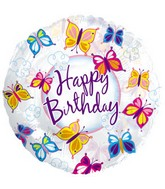 "17"" Happy Birthday Butterflies Clear Packaged"