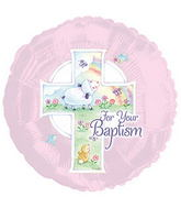 "17"" Pink Baptism Balloon Packaged"