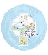 "17"" Blue Baptism Balloon Packaged"