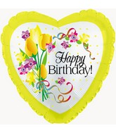 "18"" Happy Birthday Yellow Floral"