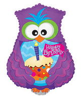"24"" Happy Birthday Day Owl Shape Cupcake Packaged"