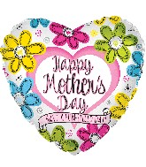 "17"" Happy Mother's Day Ink Flowers Heart Balloon"