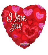 "36"" I Love You Balloon Prismatic Red Hearts"