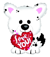 "22"" I Love You White Puppy Foil Balloon"