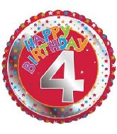 "18"" Children's Milestone ""4"" Happy Birthday Foil Balloon"