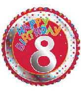 "18"" Children's Milestone ""8"" Happy Birthday Foil Balloon"