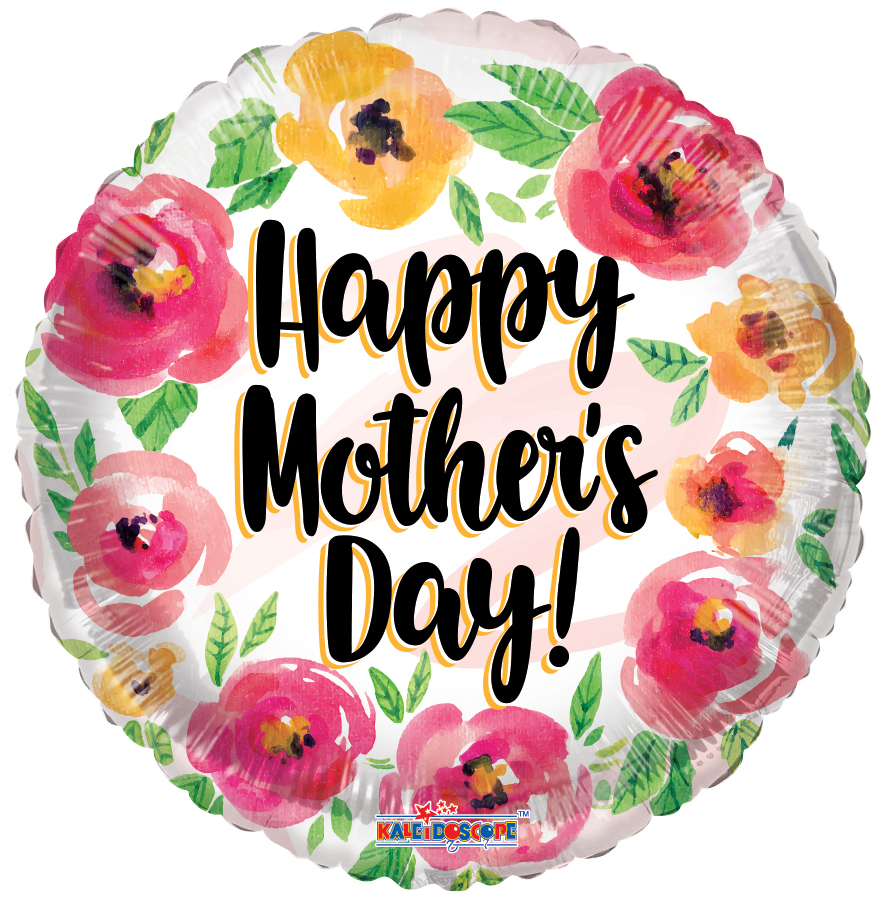 "18"" Happy Mother's Day Watercolor Roses Foil Balloon"
