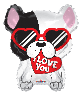 "18"" Love Dog Shape Foil Balloon (slightly damaged print)"