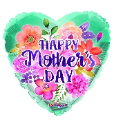 "36"" Happy Mother's Day Watercolored Flowers Foil Balloon"