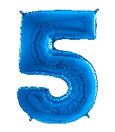 "26"" Midsize Foil Shape Balloon Number 5 Blue"