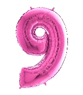 "26"" Midsize Foil Shape Balloon Number 9 Fuschia"