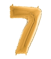 "26"" Midsize Foil Shape Balloon Number 7 Gold"