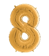 "26"" Midsize Foil Shape Balloon Number 8 Gold"