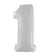 "40"" Foil Shape Balloon Number 1 Bright White"