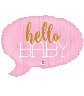 "24"" Foil Shape Hello Baby - Pink Foil Balloon"