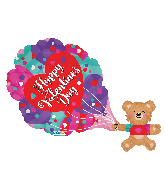 "36"" Vals Bear With Hearts Shape Gellibean Foil Balloon"