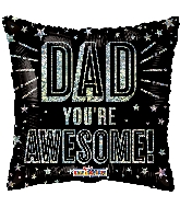 "18"" Awesome Dad Holographic Foil Balloon"