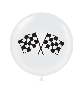 "36"" Tuf Tex Latex Balloon 2 Count Racing Flag (White)"