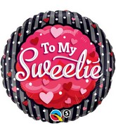 "18"" To My Sweetie Hearts & Dots Mylar Balloon"