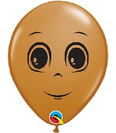 "5"" Mocha Brown 100 Count Masculine Face Latex Balloons"