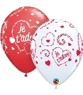 "11"" Red&White 50CT Je T'Adore-Coeurs Latex Balloons"