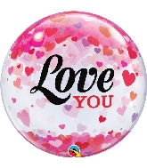 "22"" Love You Confetti Hearts Bubble Balloon"