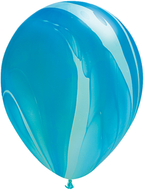 "11"" Blue Rainbow Super Agate Latex Balloons"