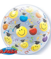"22"" Grad Smile Faces Plastic Bubble Balloons"