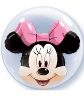 "24"" Minnie Mouse Licenced Character Double Bubble Balloons"