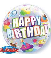 "22"" Birthday Colourful Cupcakes Plastic Bubble Balloons"