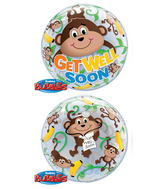 "22"" Get Well Monkeys Plastic Bubble Balloons"